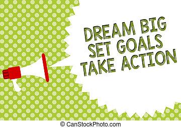 motivazione, concetto, testo, set, seguire, messaggio, tuo, altoparlante, scrittura, halftone., discorso, prendere, megafono, bolla, affari, grande, action., mete, fondo, fare un sogno, ispirazione, parola, verde, sogno