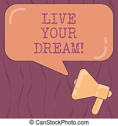 motivazione, dream., fotografie a colori, concetto, vuoto, tuo, felicità, riflessione., scrittura, vivere, discorso, testo, megafono, bolla, ottenere, essere, affari, riuscito, mete, ispirazione, parola, rettangolare