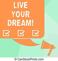 motivazione, dream., fotografie a colori, quadrato, vuoto, tuo, felicità, silhouette, megaphone., scrittura, vivere, discorso, testo, concettuale, bolla, ottenere, essere, affari, riuscito, esposizione, mano, mete, ispirazione