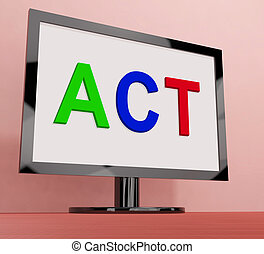 motivazione, ispirare, eseguire, schermo, atto, o, mostra