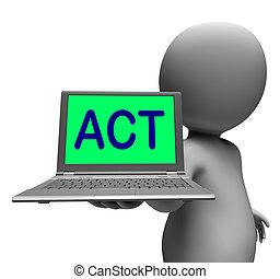 motivazione, ispirare, laptop, compiendo, carattere, atto, o, mostra
