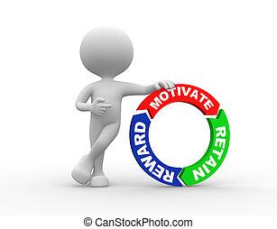 motiver, récompense, et, retenir, mots, sur, flèches, autour de