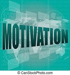 motivering, begreb, firma, skærm, arbejde, gloser, digitale