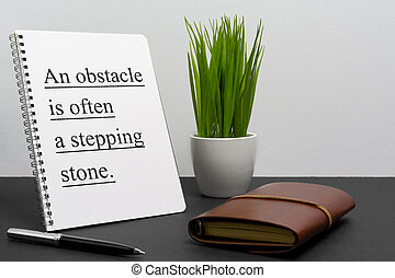 motivering, ofta, affär, citera, laptop, -, liv, hinder, anteckningsblock, inspirational, stig, stone.