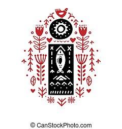 motives, créatif, -, scandinave, folklorique, lettre
