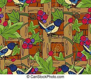 motives, körülfon, épület, songbirds, szőlő, branches., ...