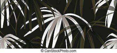 motivi dello sfondo, bianco, seamless, nero, pianta tropicale, palma, congedi verdi