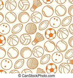 motivi dello sfondo, con, sport, palle, linea sottile, icone, (beach, tennis, football americano, calcio, pallavolo, pallacanestro, baseball, bowling, grillo, badminton)
