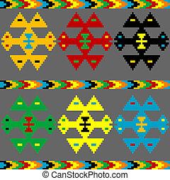 motivi, elementi, sfondo colorato, etnico