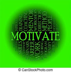 motivieren, begriff, wolke