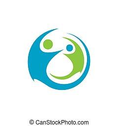 motiviert, symbol, einheit, vektor, hände, schablone, logo, design., zusammen, begriff, 2, zwei leute