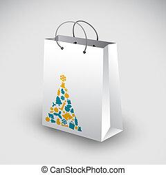 motivo, bolsa, blanco, compras, navidad