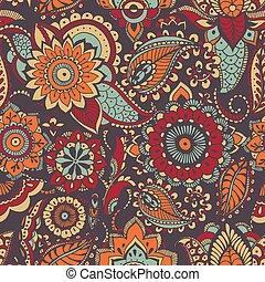 motivo, cachemira, brillante, pauta tela, seamless, fondo., oriental, buta, elementos, telón de fondo., colorido, multicolor, envoltura, ilustración, oscuridad, mehndi, impresión, papel pintado, coloró papel, vector