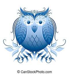 motivo, clásico, ornamento, gzhel, ruso, eagle-owl