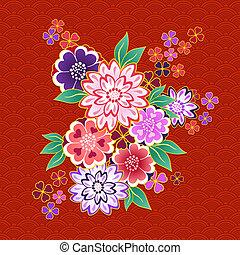 motivo decorativo, kimono, plano de fondo, floral, rojo