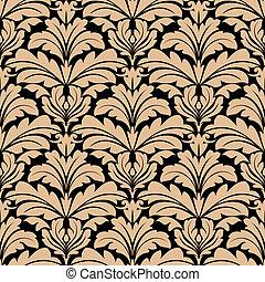 motivos, patrón, seamless, beige, arabesco, floral