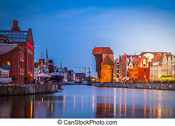 motlawa, quay, e, cidade velha, de, gdansk