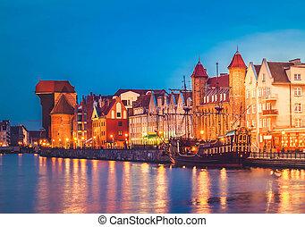 motlawa, rio, e, antigas, gdansk, à noite