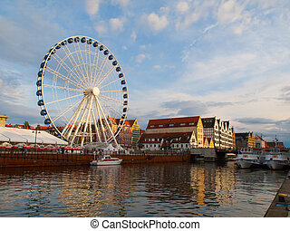 Motlawa river and ferris wheel in Gdansk, Poland