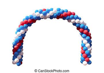 An arch of motley balloons