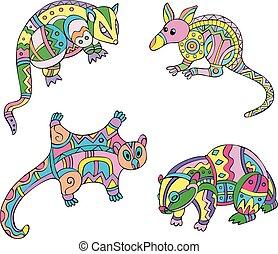 Motley exotic animals. Set of ethnic vector designs.