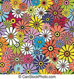 motley, floral, seamless, model