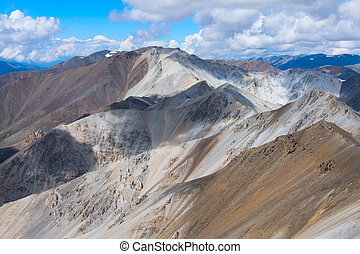 Motley mountains built of sedimentary materials