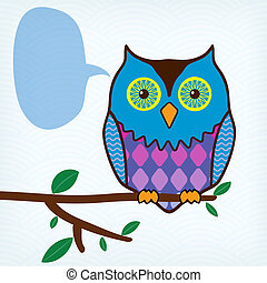 motley owl with message bubble sitting on a tree branch