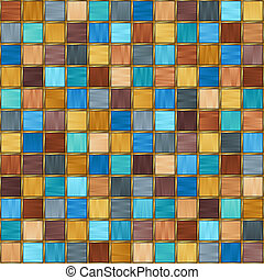 Motley Seamless Pattern of Simple Geometric Figures Squares with Stylized Gold Border.