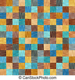 Motley Seamless Pattern of Simple Geometric Figures Squares with Stylized Gold Outline.