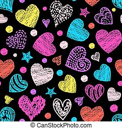 Motley seamless pattern with colorful hearts. Vector illustration.