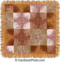 Motley tapestry with grunge striped square and circle elements in yellow, brown, beige colors isolated on white