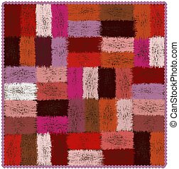 Motley tapestry with grunge woven rectangular colorful elements and wavy fringe