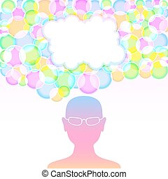 Motley thoughts - Motley bubbles on the human head. Empty...