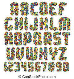 motley, vector, kleurrijke, lettertype