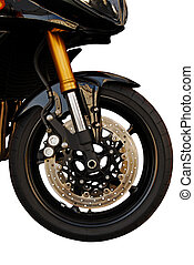 Front wheel of the motorcycle. Brand new, on white with cut out path.