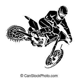 moto, cavalier, croix