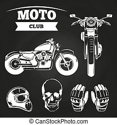 Moto club motorcycle, helmet
