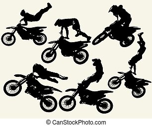 moto freestyle set - motocross jumping riders, freestyle,...