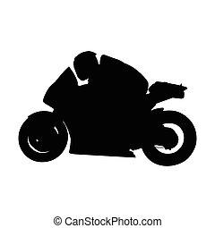 moto, isolé, silhouette, vecteur, motocyclette, côté, route, vue