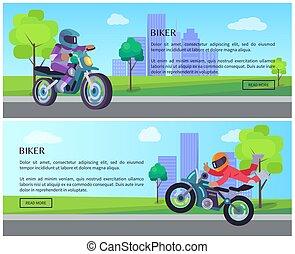 moto, motard, rue, cityscape, équitation, route