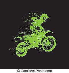 moto, motocross, course, isolé, illustration, vecteur, cavalier