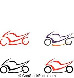 moto, motocyclette, -, vecteur, imag
