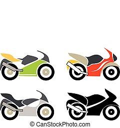 Moto, Motorcycle - Sport bike, motorcycle - isolated vector...