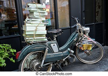 Old moto with books