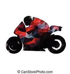 moto, résumé, côté, isolé, silhouette, vecteur, rouges, géométrique, motocyclette, route, vue