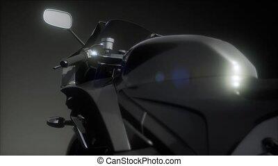 moto, sombre, lumières, clair, vélo, studio, sport
