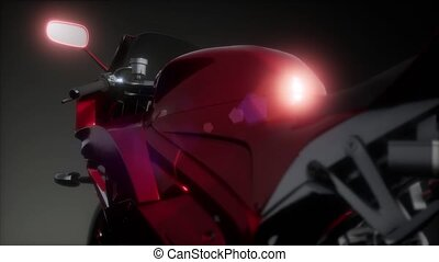 moto sport bike in dark studio with bright lights