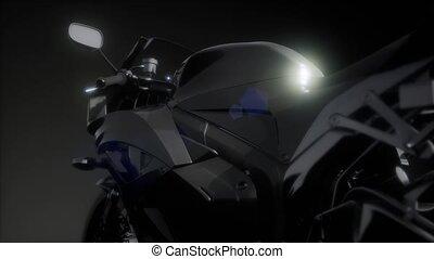 moto, sport, fahrrad, in, dunkel, studio, mit, helle lichter