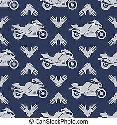 Moto sport seamless pattern with motocycle - Motosport...